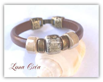 Leather Bracelet Regaliz Cognac - Bronze beads ceramics taupe marbled ivory, metal beads
