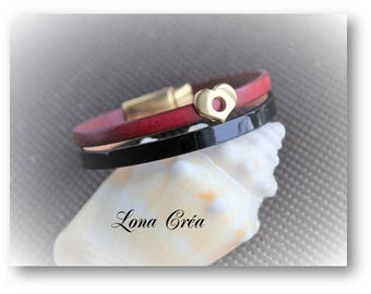 Bracelet leather red and black - heart - Valentine's day gift