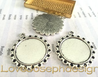 Bulk Sale100 Pieces /Lot Antique Silver Plated 22mm cabochon trays charms