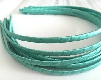 10pieces Turquoise blue satin metal hair headband covered 5mm wide
