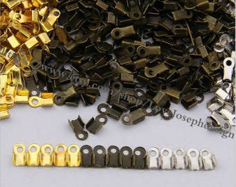 wholesale 100 Pieces /Lot gold & bronze and silver Plated 9mmx5mm cord end crimp clip(#0484)