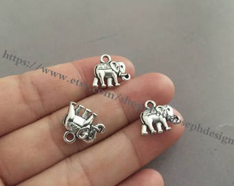 wholesale 100 Pieces /Lot Antique Silver Plated 14mmx12mm elephant  Charms (#0433)