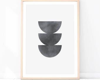 Abstract Print - Baydreem. Abstract Geometric Wall Art Scandinavian Wall Art Minimalist Art Monochrome Modern Wall Decor Minimal Nordic Art