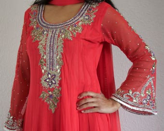 Pink Anarkali Suit - Embellished Indian Long Sleeved Anarkali Suit with Free Set of Bangles