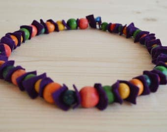 purple felt necklace