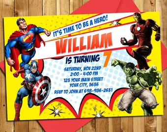 Superheroes Invitation, Superheroes Birthday Invitation, Superheroes Party Invitation, Avenger Invitation, Birthday Invitation | SH_02
