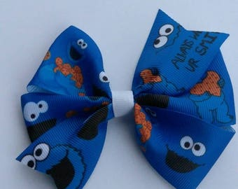Character hair bow, Cookie Monster bow set, character headband, Cookie Monster hair bow, baby hair bow, Sesame Street hair bow