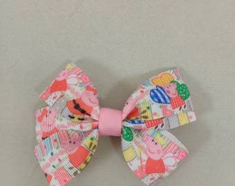 Peppa pig inspired hair bow, Character hair bow, pigtail bow set, girls pig tail bows, toddler hair bows, pig hair bow, pink hair bow