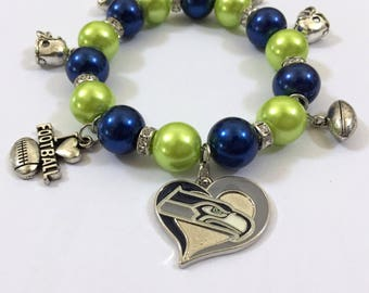 Seattle Seahawks 7.5in Charm Bracelet