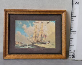 Dollhouse picture, American sailing ship, in wood frame, diorama picture