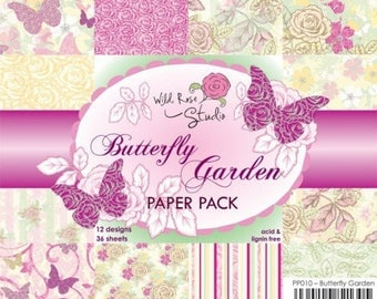two pockets 15.2 36 papers x 15.2 cm Wild Rose BUTTERFLY GARDEN