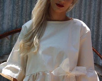 Frilled Ivory Cotton Top
