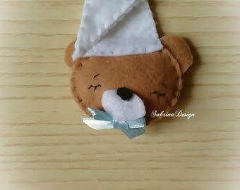 Sleepy Bear felt favor baptism favors baby shower favors birthday favors felt favors bear keychain