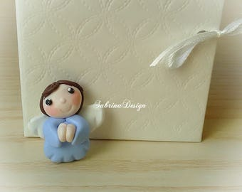 Angel favor boy , polymer clay favors, baptism favors, baby shower favors, birthday favors, communion angel
