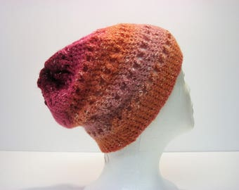All the Pretty Colors!  Pink, Orange, Peach, Raspberry Criss-Cross Slouchy Womens Winter Hat (A3)
