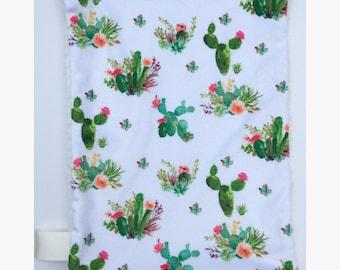 Lovey Blanket – Security Blanket – Newborn Blanket - Minky Blanket – Cactus Accessories – Comfort Blanket – Cactus Bedding