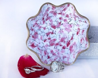 Red White Jewelry Dish Valentine's Day Gift for Her Stone Pattern Ring Dish Red Ring Holder 3D Effect Trinket Tray