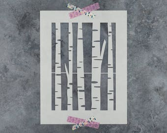 Birch Tree Stencil - Reusable DIY Craft Stencils of a Birch Tree
