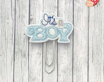 It's a boy planner clip, paperclip, planner supplies, celebration, felt, organiser accessory, gift, study, paperwork, baby shower