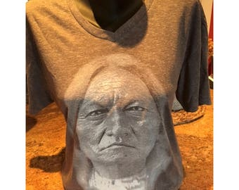 Chief Sitting Bull V-Neck T-Shirt