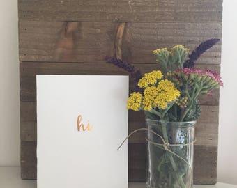 Hi Card Set / Gold Foil Card Set / Blank Greeting Cards
