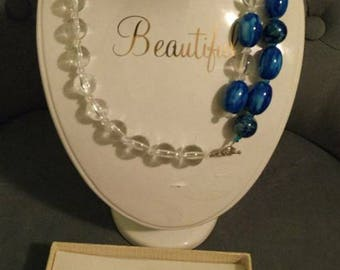 Blue and white authentic marble beads jewelry