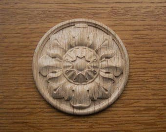 Wooden applique, rosettes carved, wood carving, natural wood, oak