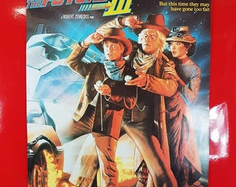 SALE Vintage Back To The Future 3 Movie Poster / Original Back To The Future Movie Advert Poster 1990s Pop Culture Collectible Movie Poster