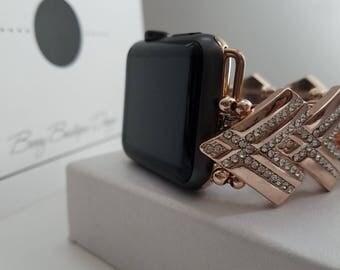 Apple Watch Band, Apple Watch Band 38mm, Apple Watch Band 42mm, Rose Gold, Chevron pattern