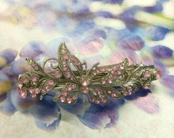 Vintage Antique Silver Pink Butterfly Hair Clip, Butterfly Hair Accessory, Rhinestone Hair Clip,  Hinged Hair Fashion Accessory, Boutique
