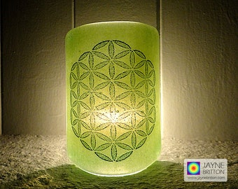 Flower of Life Sconce, mini light and candle screen, green blended background, sacred geometry, meditation, fused glass, meditation, healing