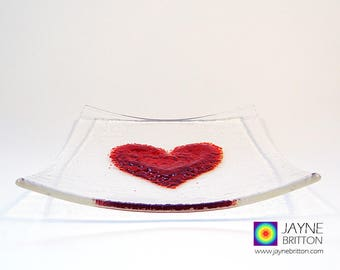 Fused glass red heart on square clear glass plate, sushi plate, snack plate, altar plate, presentation plate, sweetie bowl, gift of love