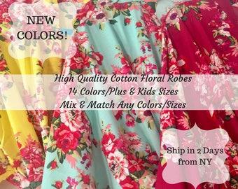 Bridesmaid Robes, 14 Colors, Bridesmaid Gift,  Robe, Cotton Floral Robe, Getting Ready Robes, Wedding Robe, Kimono Robe