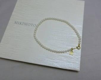 "Mikimoto Akoya Cultured Pearl Strand Bracelet /w 18K YG Clasp 3.5mm Pearl 7.5"""