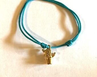 Adjustable turquoise cord bracelet, cactus color gold