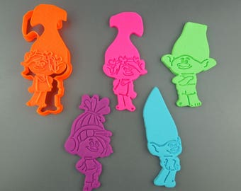 Troll Cookie Cutter 3D Printed Troll Movie Cookie and Fondant Cutter - Poppy Branch DJ Suki and Guy DIamond - Decorate Yourself