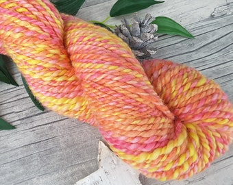 "Yarn handspun hand dyed - bluefaced leicester - ""Lemonade Sweets I"" - 90yds/3,56oz - 2ply"