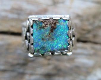 KING in THE CASTLE/Australian Opal silver ring/Boulder Opal/Gemstone/Opal/Statement ring