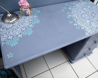 Hand painted dressig table office grey desk  PineWood Floral ornamentStencil Upcycled furnitureDIY kid table Dressing table Kid Teen Table