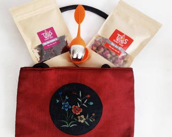 Exclusive Rose Tea Set with Oriental Bag