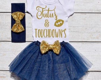 Tutu's and Touchdown's. Girls Football Tutu Outfit. Football Outfit. T19 FBL (NAVY)
