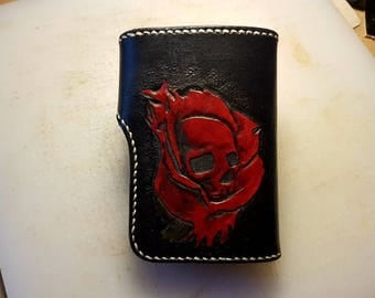 Custom Leather Wallet - Skull Rose