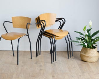 Rare Set of 4 Vintage Retro Mid-Century Industrial Metal Stacking Armchairs