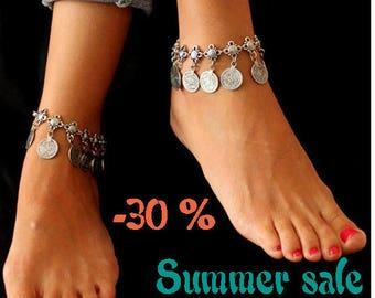 SUMMER SALE / / / boho Antioch silver ankle Bracelet / / / Bohemian gypsy ethnic anklet