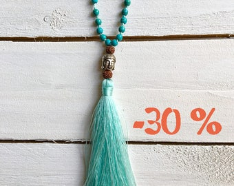 SUMMER SALE / / / boho Buddha necklace / / / Mint green tassel