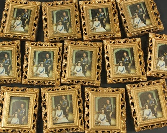 1977 Silver Jubilee souvenir photograph in fancy frame, Queen Elizabeth and Prince Philip, 1970s, tacky, kitsch