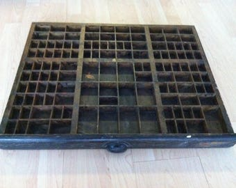 Antique wood seed box drawer