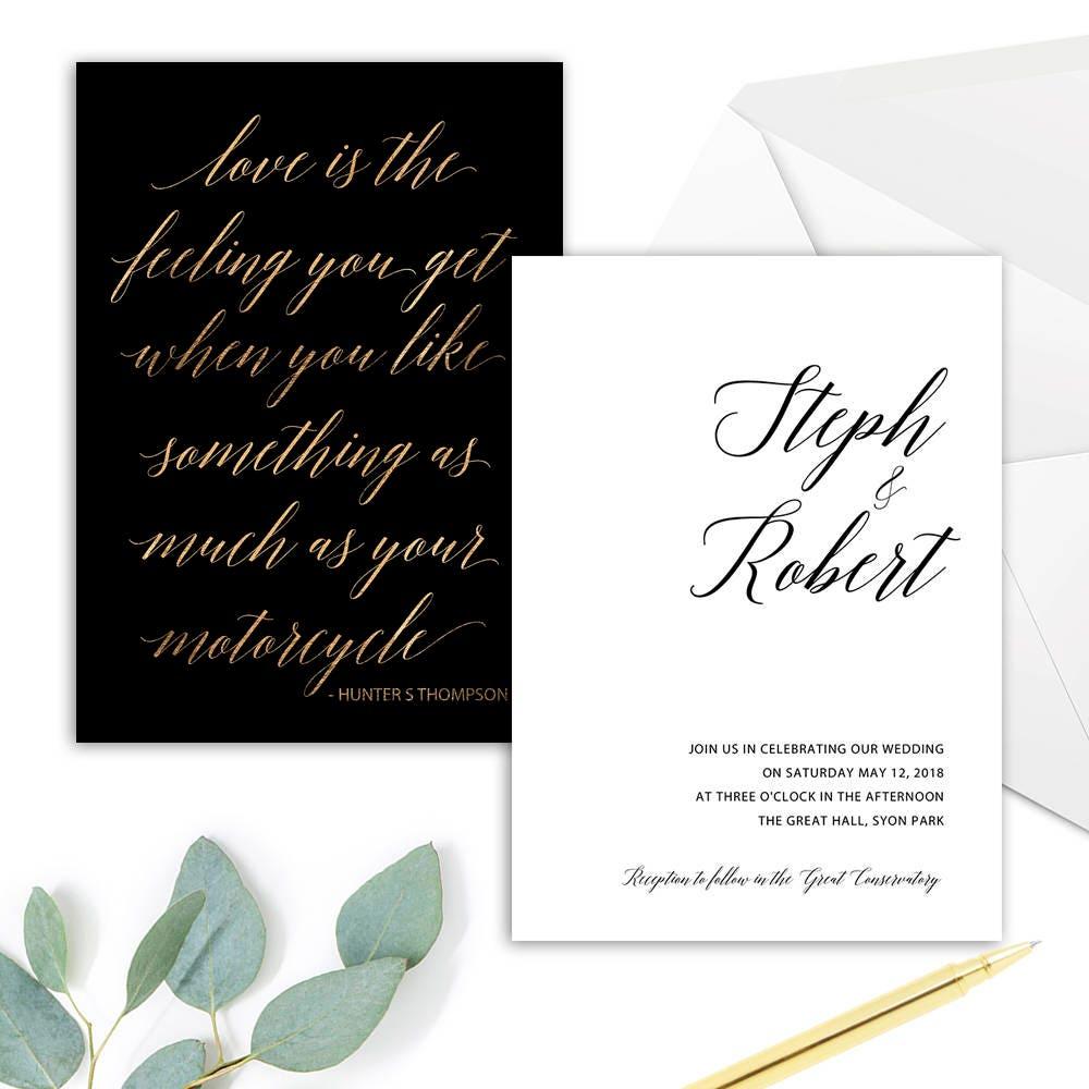 LOVE QUOTE Invitation Printable Template Wedding Stationery DIY Bronze Black