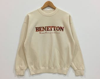 Rare !!! Vintage benetton big spell out logo//united colors of benetton sweatshirt