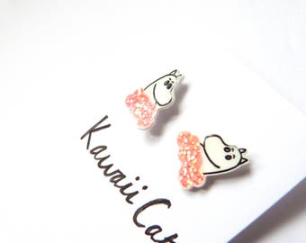 STERLING SILVER Moomin Pink Clouds Glitter Earrings Cat Earrings Shrink Plastic Cat Earrings Moomin Accessories